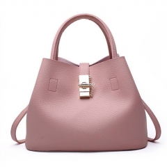 1856 High Quality Solid Color Bucket Style Shoulder Handbag For Women