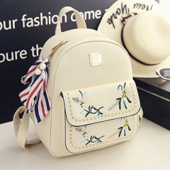 PU74081 European style embroidery flowers PU leather backpack purse Women bag set