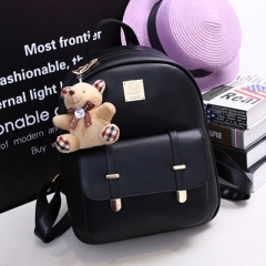 PU74079 Popular style bear accessory PU leather backpack purse