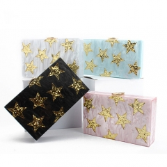 EV78392 Gold Star Lady Acrylic Clutch Box Cross Body