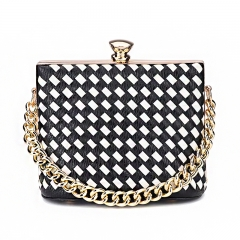 PU2133 Wholesale Mini Metal Frame Woven Knitted Laides Clutch Bag Purse With Chain