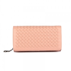 PU2136 2019 new woven PU leather women hand clutch bag wallet with zipper