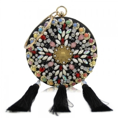 EV145 New Arrival Colorful Crystal Gemstone Diamond Round Wedding Party Clutch Evening Bag With Tassel