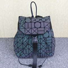 PU2170 New Trendy Laser Geometric Patchwork Luminous Issey Miyak Bao Backpack