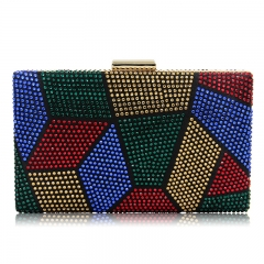 EV148 Colorful handmade crystal evening party wedding rhinestone clutch bag ladies purses with chains