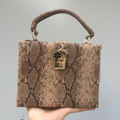 EV153 Stock Available Snake Skin Printed Square Box Women Tote Shoulder Bag with Lock