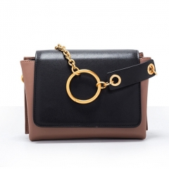 LT1916 Custom bag manufacturers Square Color Collision Women Crossbody Sling Shoulder bag With Circular Ring Chain
