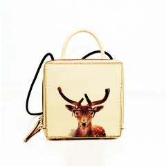 LT1923 2019 New Traditional Fashion Deer Print Small Square Bag Vegetable tanned leather Lady Shoulder Bag