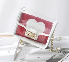 LT1926 2019 Hot Fashion Clear Transparent Small Rectangle Lady Crossbody Shoulder Sling Bag With Chain
