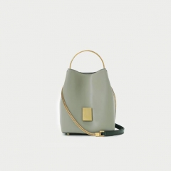 LT1933 New Fashion Hit Color Cowhide Bags Real Leather bucket bag single shoulder cross body bag For Women