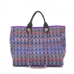 PU2210 Instagram HOT Women Fashion large capacity Knitted Printed cloth Tote Bag With Chain