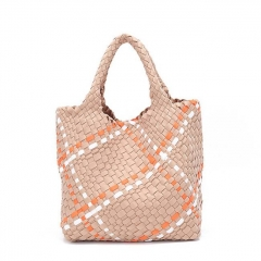 PU2217 New arrival custom weave design high quality woven PU leather women handbag large capacity tote bag with purses