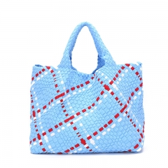PU2218 OEM Manufactory large capacity PU Hand knitted Woven Set bag For Women