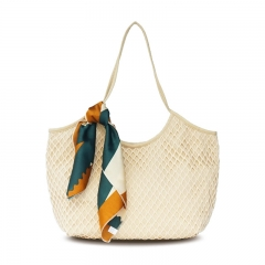 pu2233 Summer Fashion Large Size Women Net Tote Beach Bag With Scarves