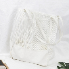 PU2251 2019 Hot Big Size Canvas Hollow out Net Shopping bag for Women