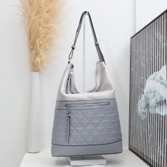 PU2262 2019 fashion quilted PU Leather woman handbag bucket shoulder tote satchel for daily use