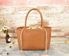 LT1956 Japanese style summer weaving fashion real leather basket bag high quality  Women Handbag