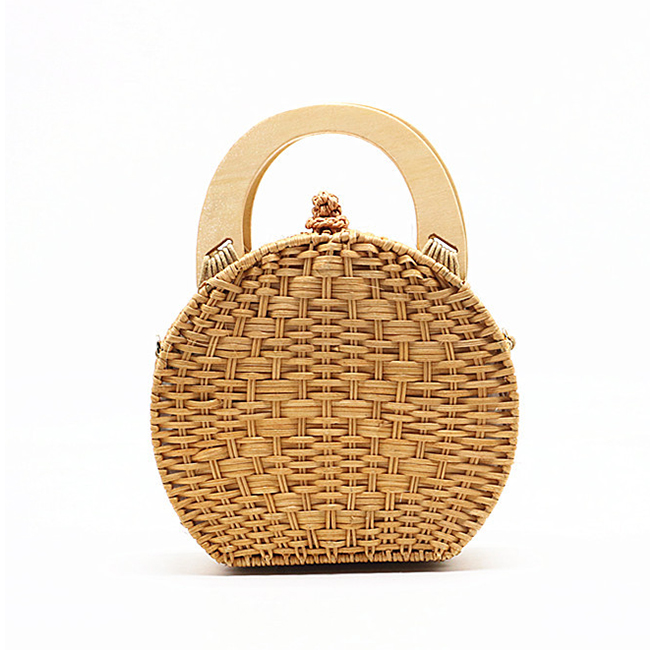 BC0213 New design Wooden Handle Rattan shoulder handbag round fashion handwoven straw bag cross body bags women