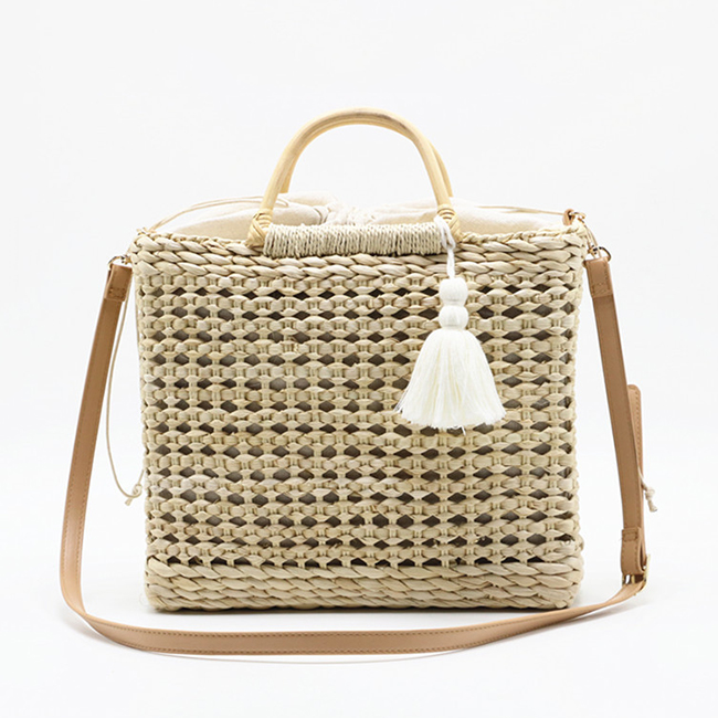 BC0218 Summer Square Hollow Out Corn bran Knitted Weaven Straw Beach Bag With Tassel
