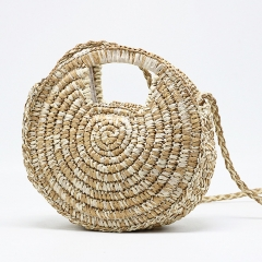 BC0225 Latest design beach bag summer fashion girls round shape handwoven straw cross-body bag