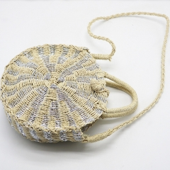 BC0228 Summer Women Round Shiny Bright Color Hand knitting Straw Beach Shoulder Bag