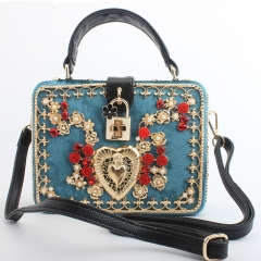 EV155 New Design Fannelette Beaded Embroidery Women Shoulder box bag
