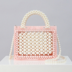 EV164 2019 Newest custom handmade beaded pearl acrylic handbag ladies eleganet fashion shoulder bag