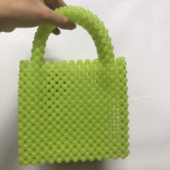 EV161 2019 Instagram Hot Green Bead Hand-made Pearl Women Tote bag
