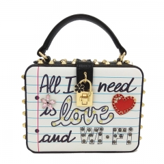 EV168 Korean new printed fashion square sling bag female handbags ladies portable box bag with rivet