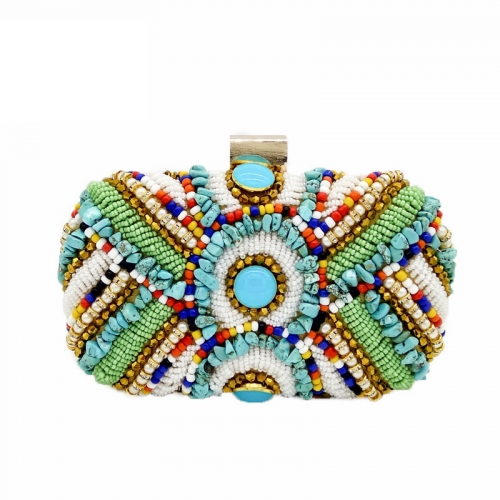 EV170 European and American style handmade beaded stone clutch evening bag luxury rhinestone clutches purse for women