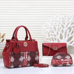 PU2280 Wholesale women snake leather 3 pcs pu bags set high fashion handbags from China factory