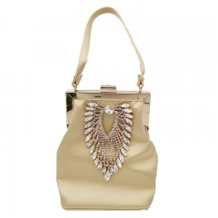 EV172 2019 New arrival elegant satin lady handbag handmade rhinestone crystal evening clutches party bag