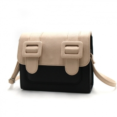 PU2307 Retro Cambridge Style Satchel Bag Ladies Contrast Color Fashion Gilrs Shoulder Message Bag