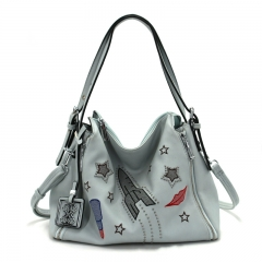 PU2311 2019 New trendy embroidery style handbag tote shoulder bag with rivet for women