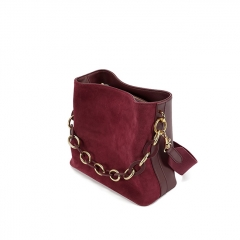LT2011 Retro simple fashion design genuine Leather bucket bags chain shoulder bag for women