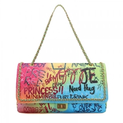 PU2347 Trendy New colorful printed Chain cross body bag Big Capacity women fashion handbag Graffiti Printed Shoulder Bags